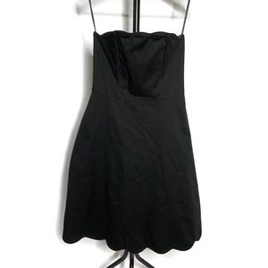 WHBM Black Strapless Scalloped Hem Mini Dress